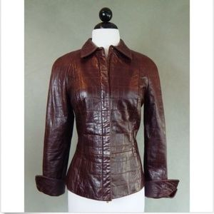 WORTH Dark Brown Genuine Leather Crocodile Jacket
